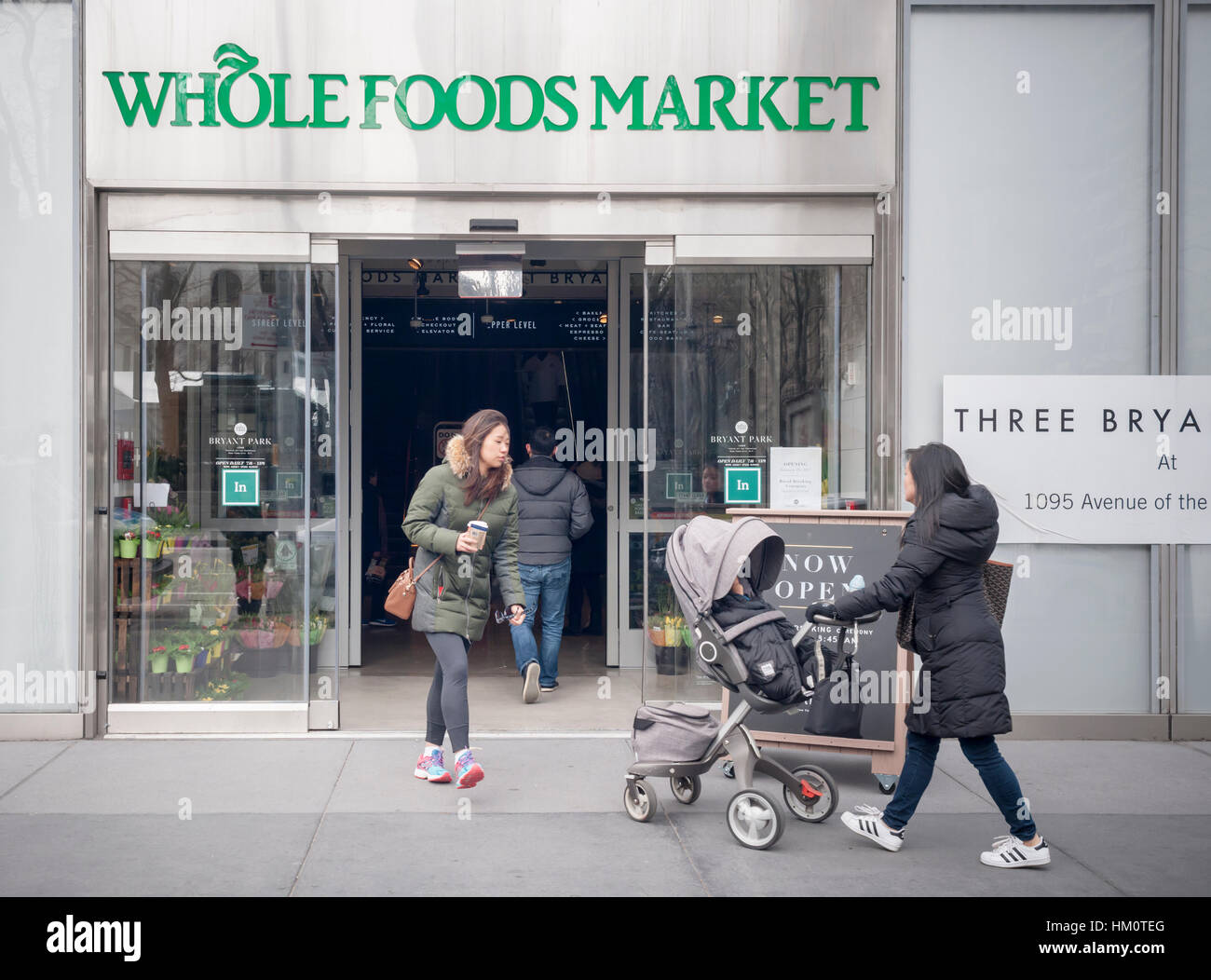 The new Whole Foods Market opposite Bryant Park in New York on opening day Saturday, January 28, 2017. The store - Stock Image