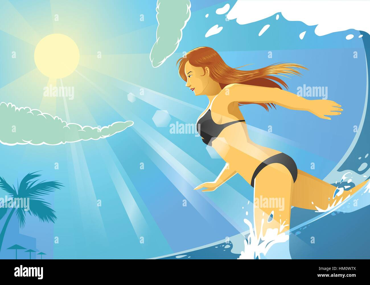 a vector illustration of a bikini girl running on the beach - Stock Vector