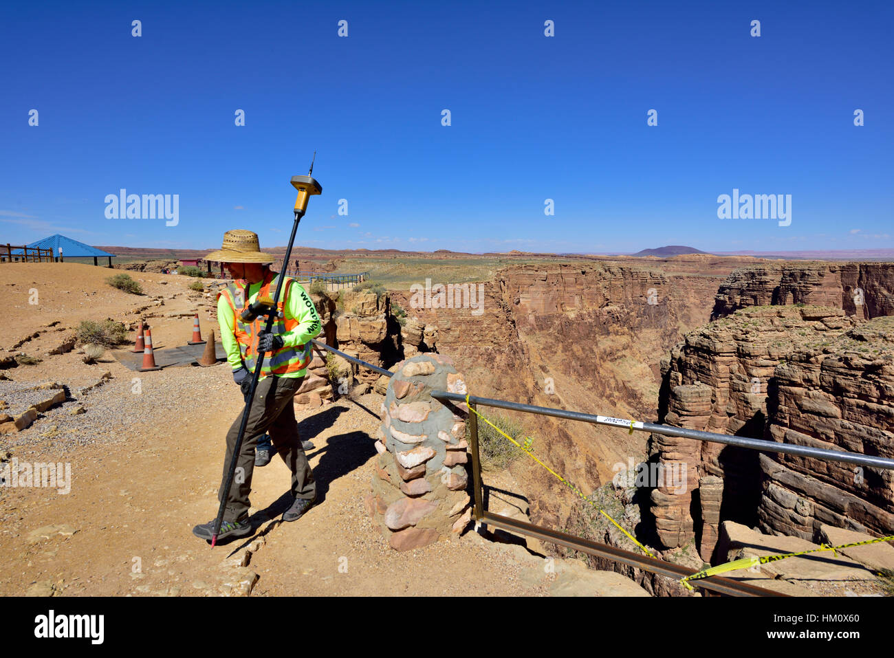 Collecting GPS survey data for height at Little Colorado River Viewpoint a Navajo Tribal location, at eastern end - Stock Image