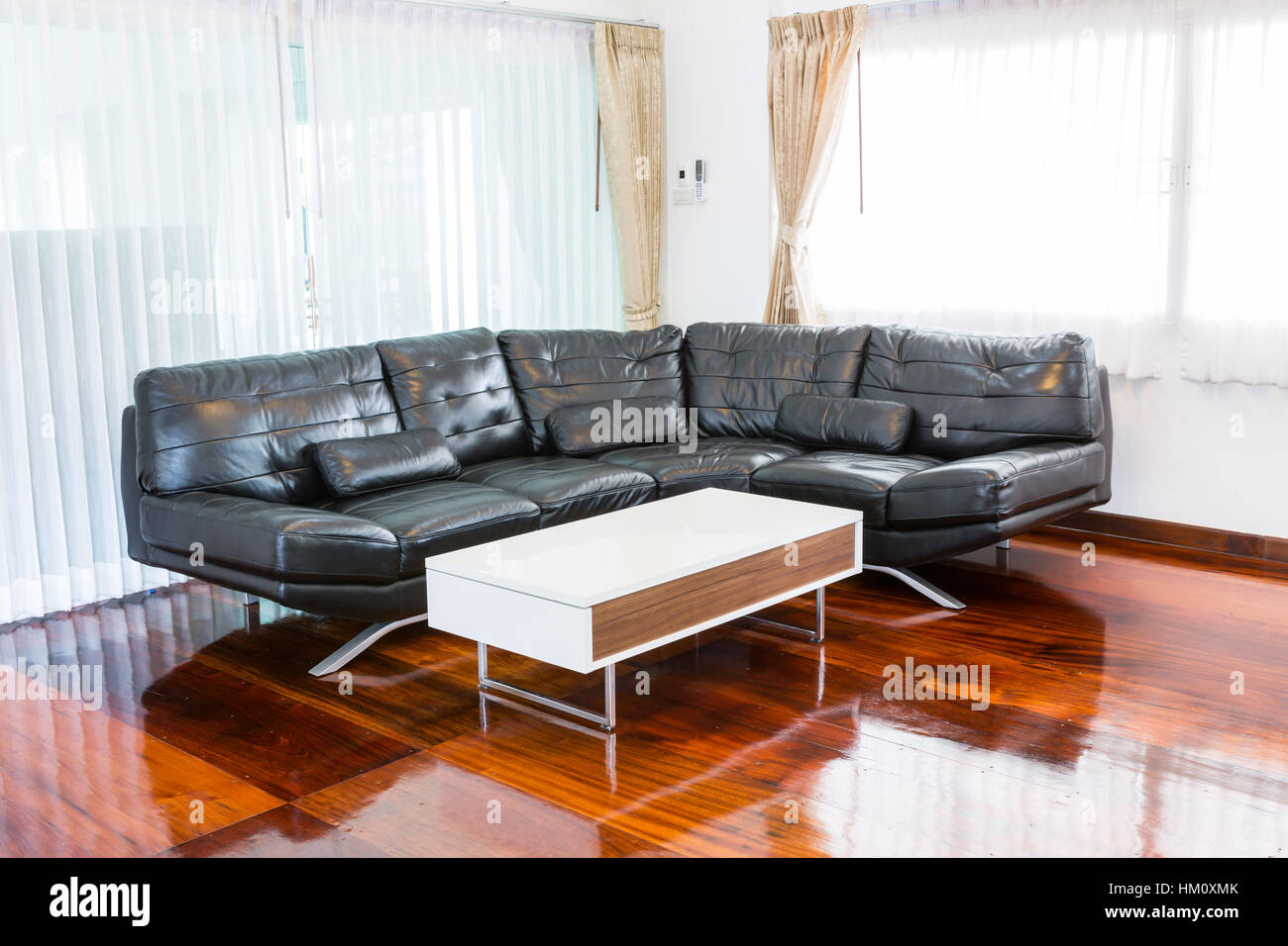 Black sofa in room Stock Photo