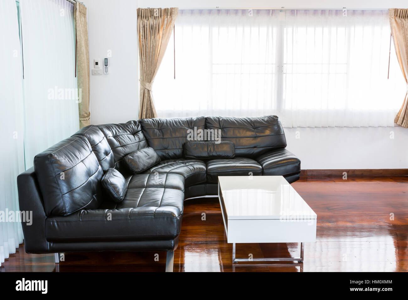 Black sofa in room Stock Photo