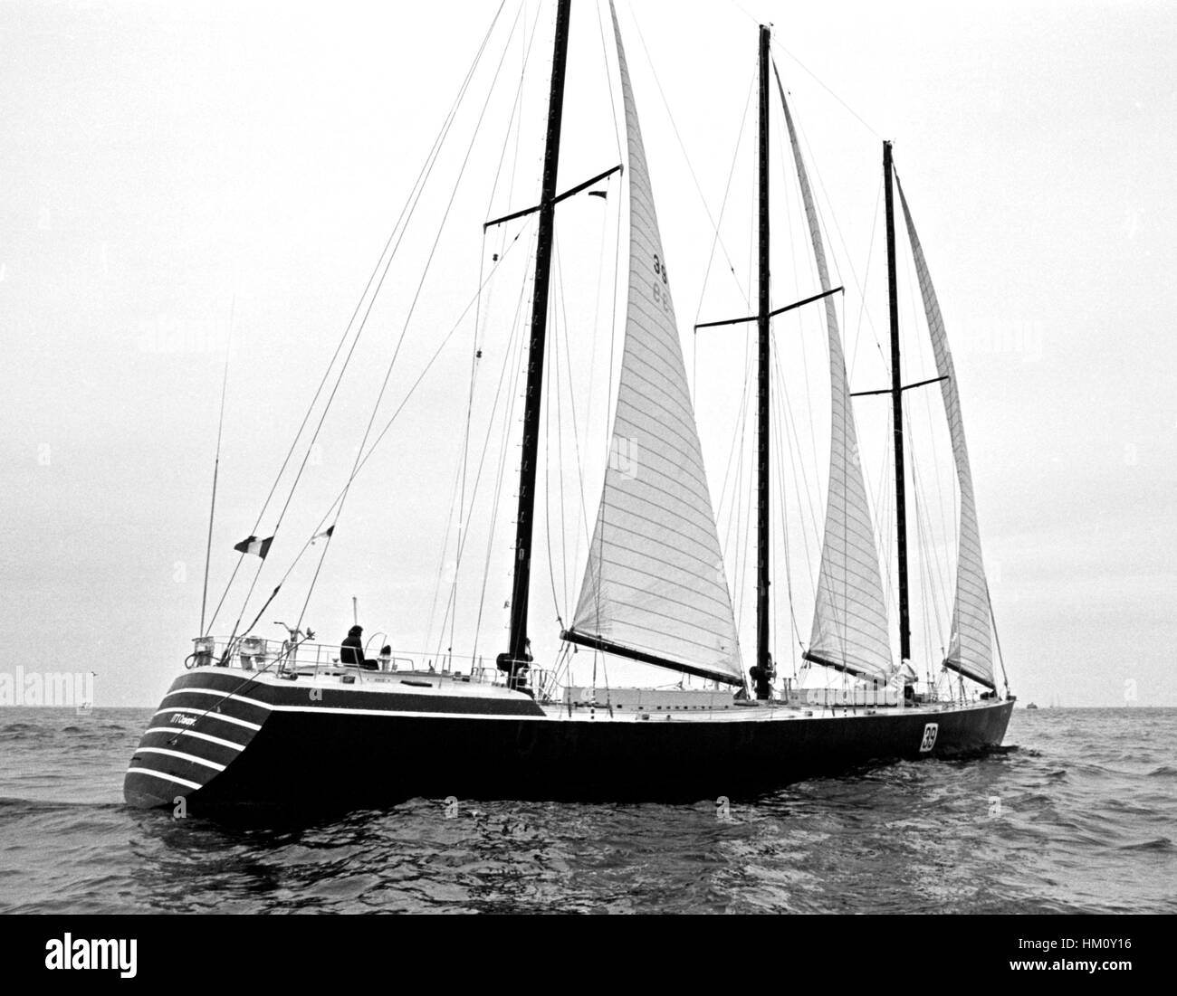 AJAXNETPHOTO. 6TH JUNE, 1976. PLYMOUTH, ENGLAND. - OSTAR 1976 - FRENCHMAN YVON FAUCONNIER SKIPPERED THE 128FT ITT - Stock Image