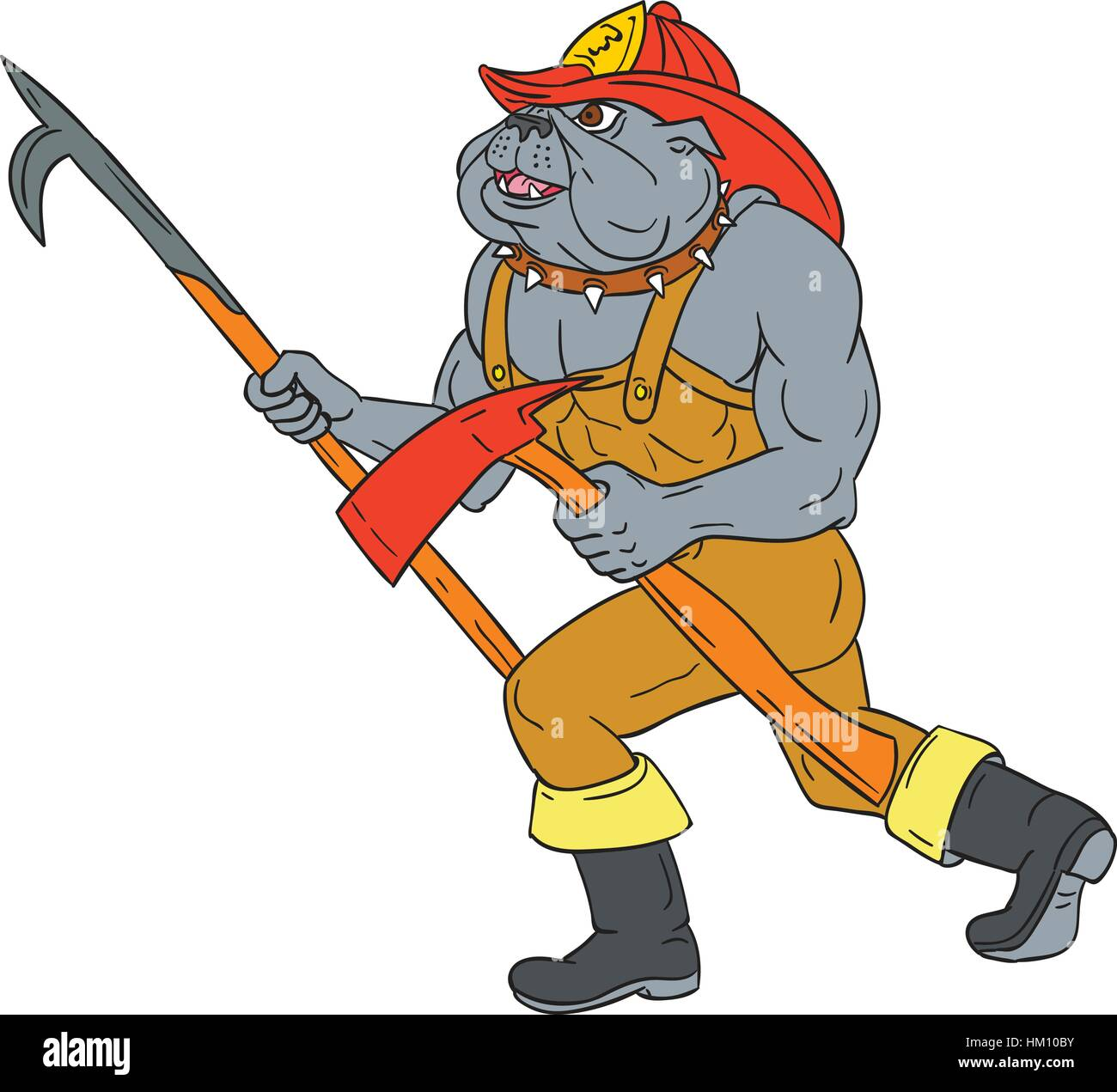 drawing sketch style illustration of a bulldog firefighter fireman