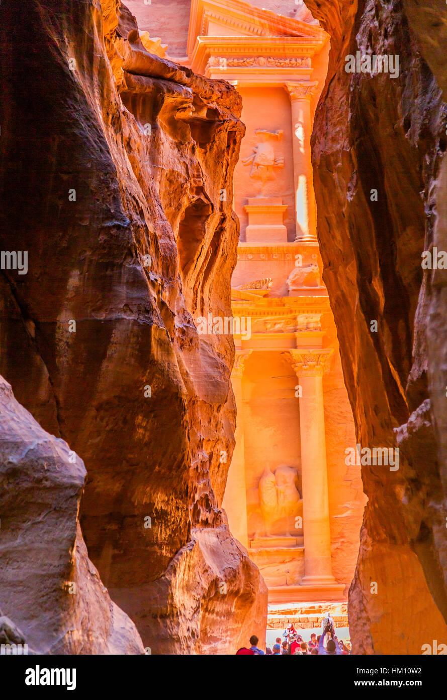 Outer Siq Yellow Treasury Morning Petra Jordan Petra Jordan.  Treasury built by the Nabataens in 100 BC. - Stock Image