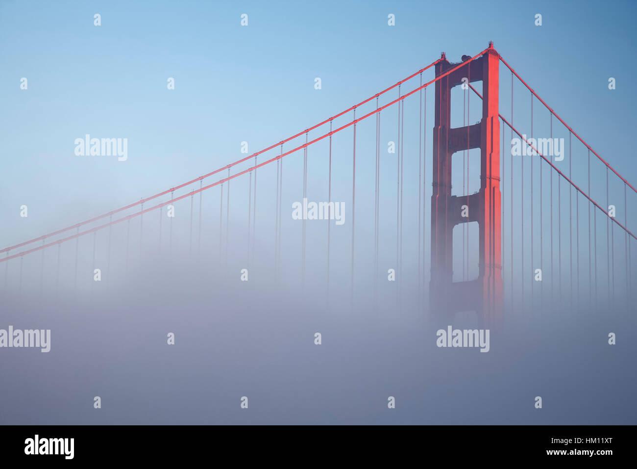 Golden Gate Bridge and fog, San Francisco, California USA - Stock Image