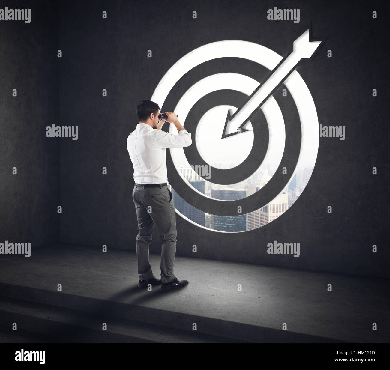 Arrive at a goal of success. Businessman successful vision . 3D Rendering - Stock Image