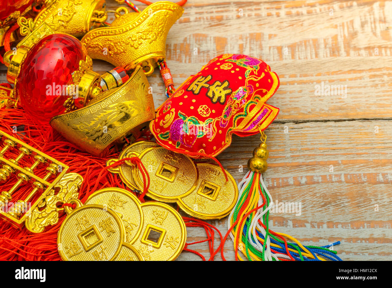 Chinese New Year decoration on wood wall,Chinese characters text ...