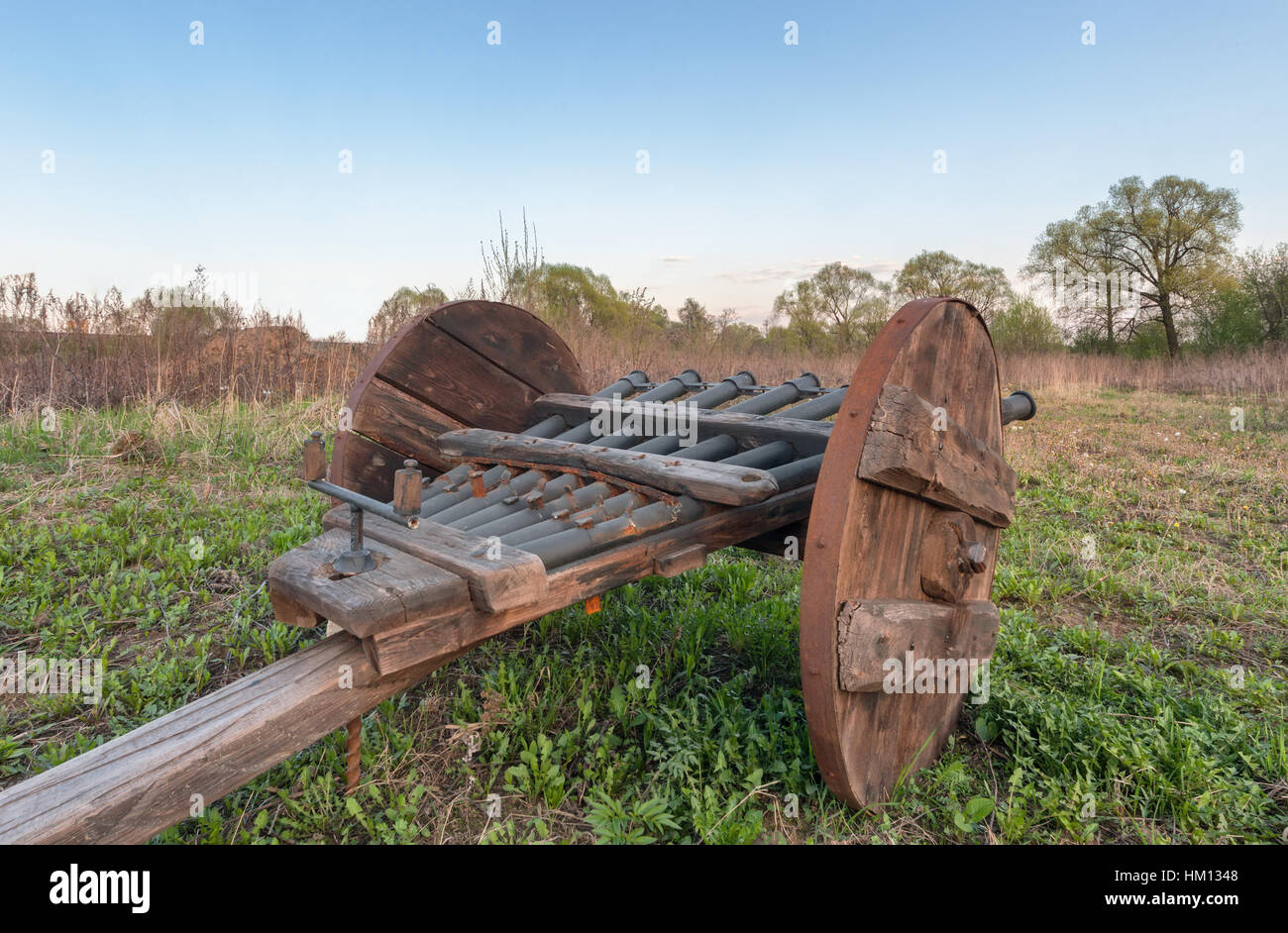 Vintage multi barrelled cannon - ribaudequin. Rear view of the open countryside Stock Photo
