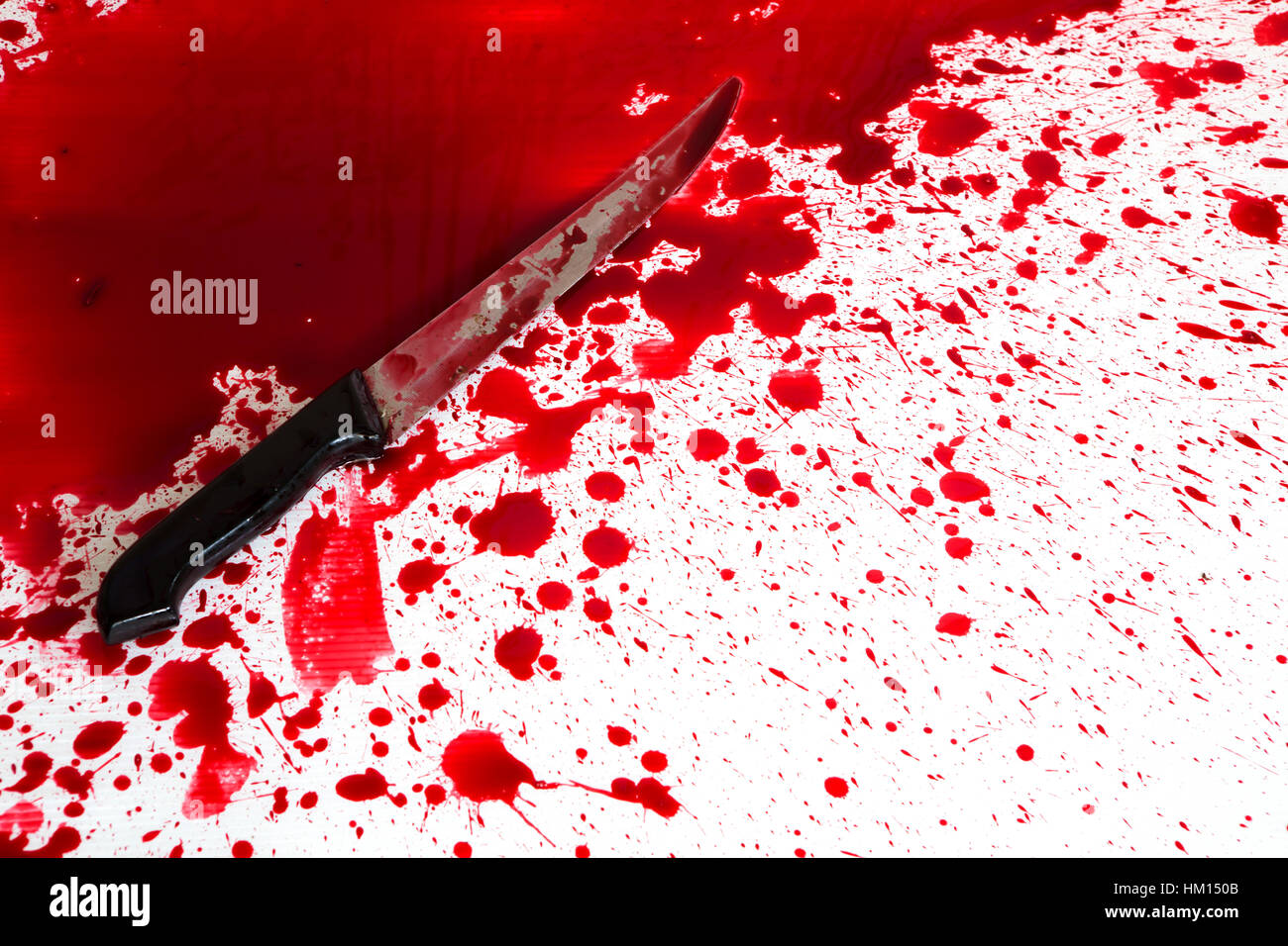 Halloween Concept Bloody Knife With Blood Splatter Stock