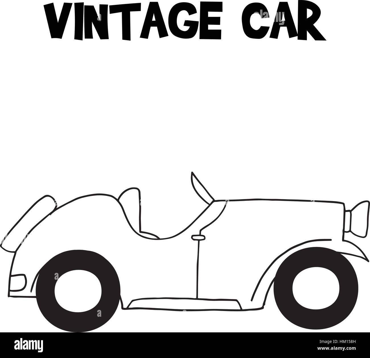 Hand draw of vintage car - Stock Vector