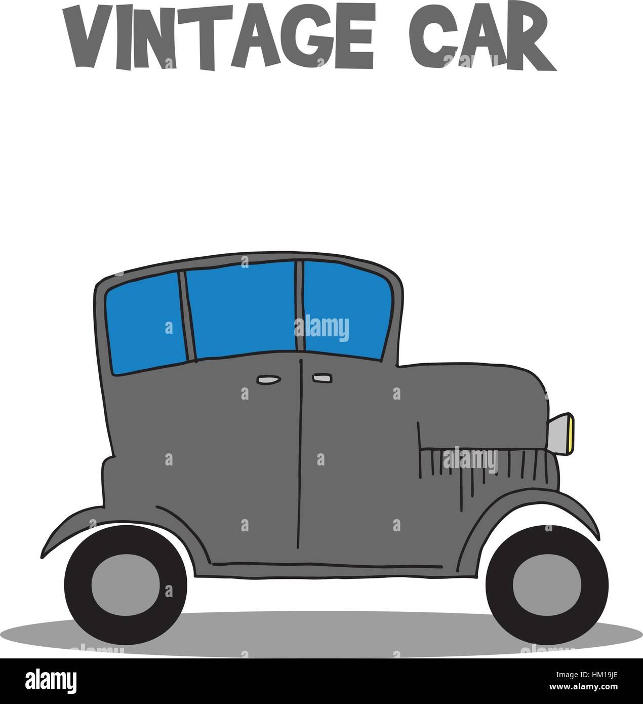 Vintage car vector art illustration - Stock Vector