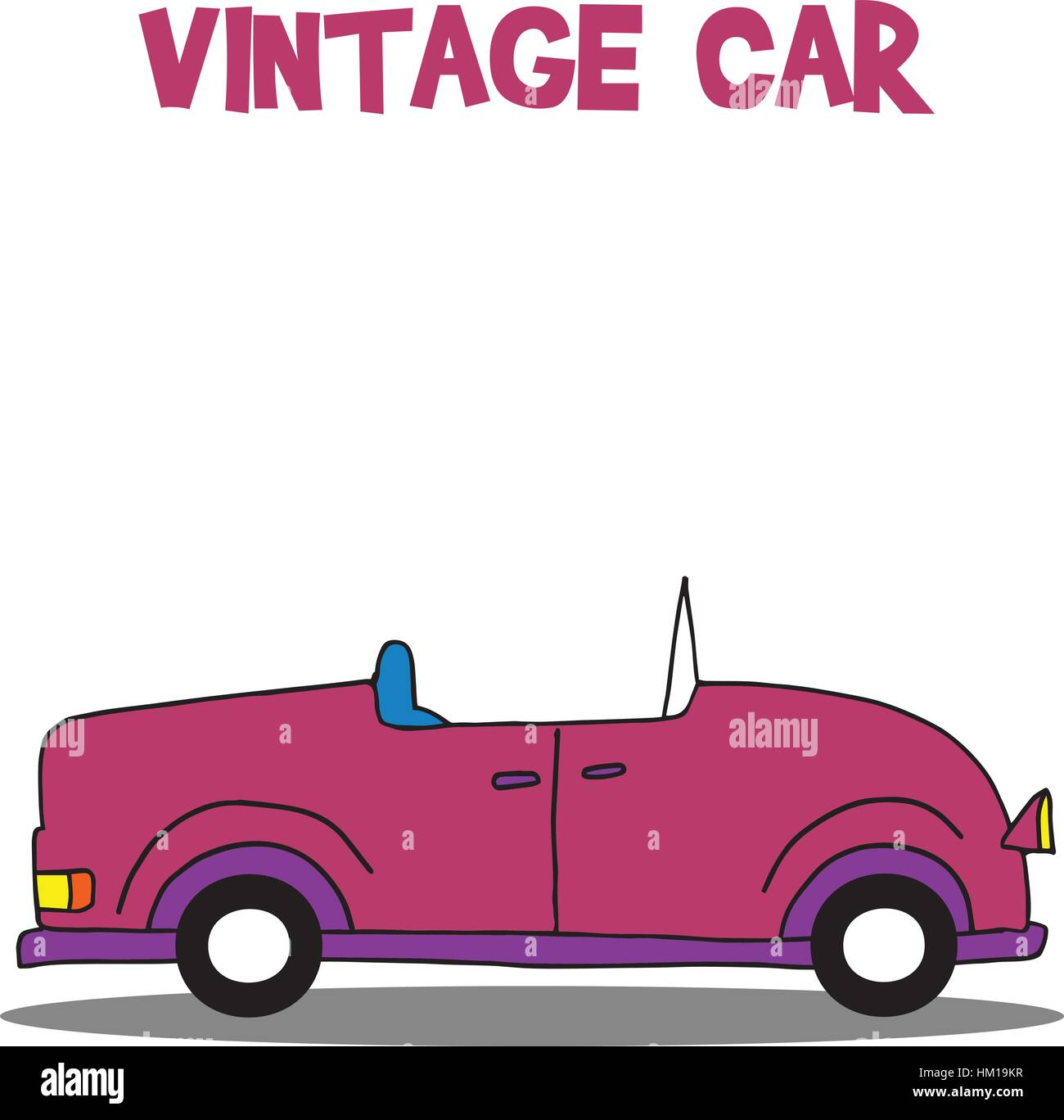 Collection of vintage car vector - Stock Vector