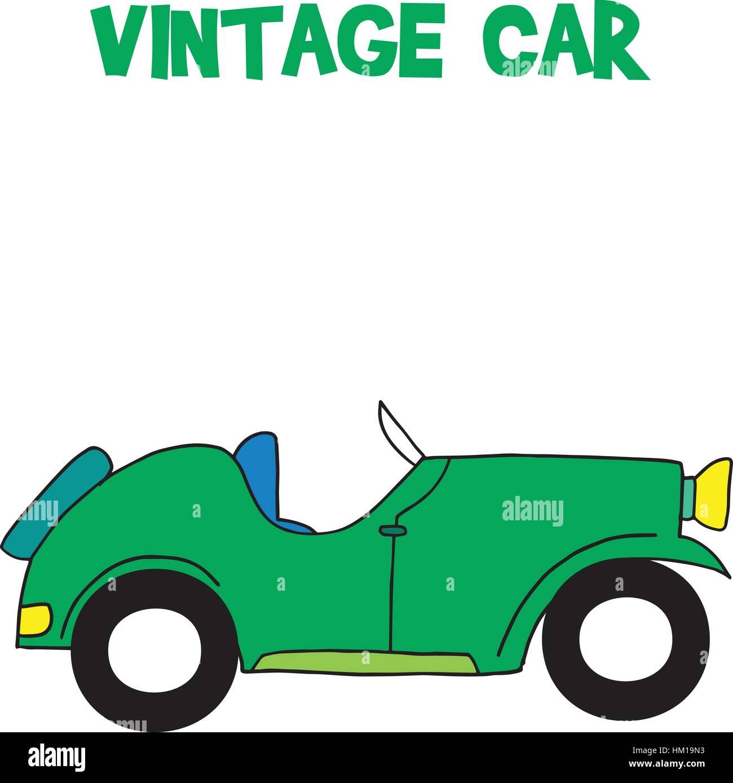 Vintage car of vector art - Stock Vector