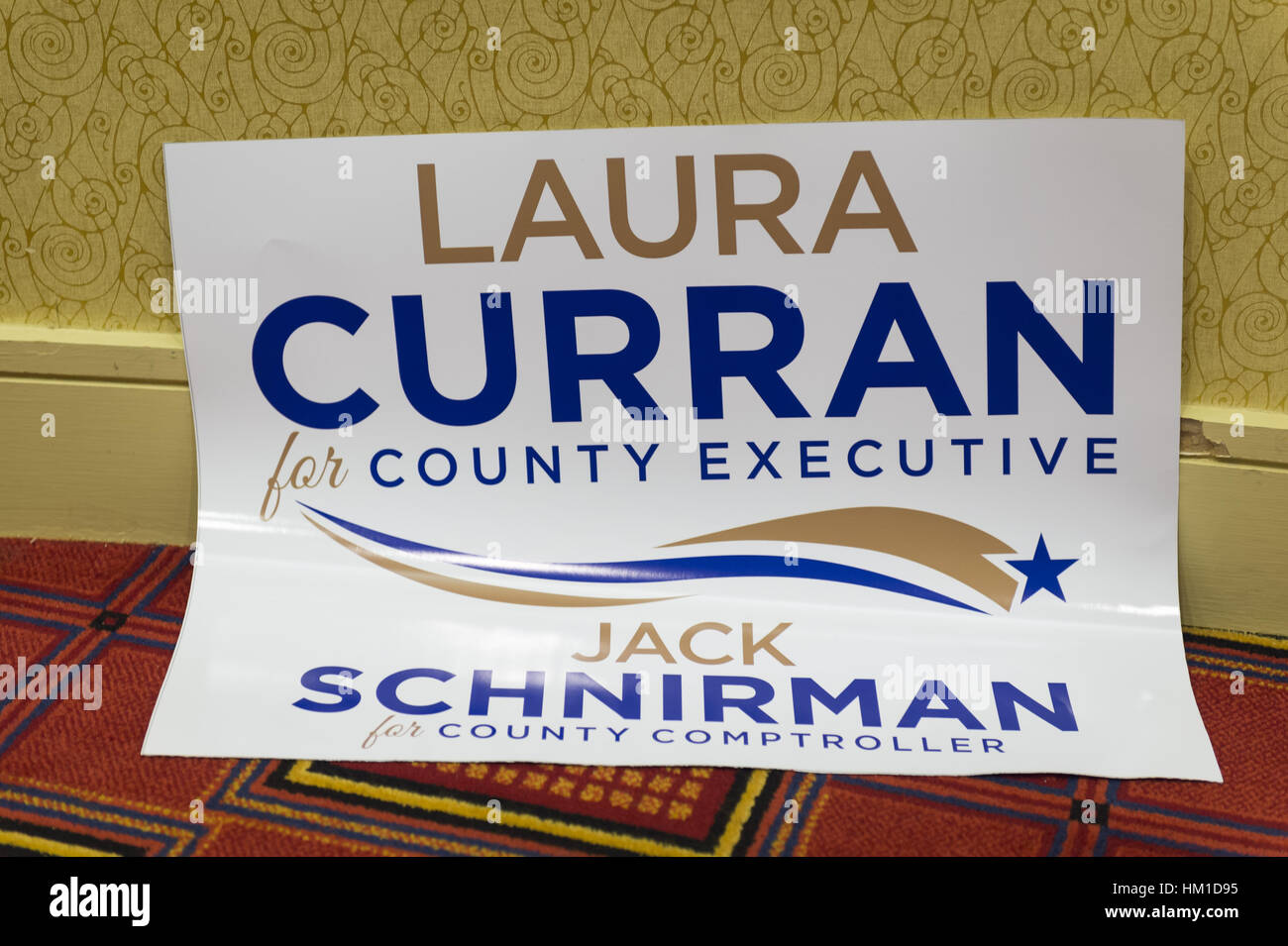 Uniondale, USA. 30th Jan, 2017. A sign supporting Democrats Laura Curran, candidate for Nassau County Executive, - Stock Image