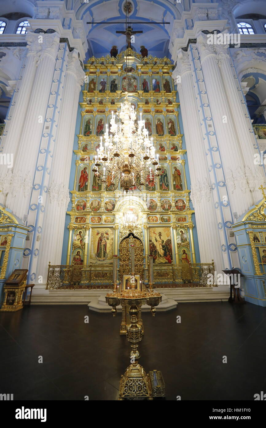 Moscow Region, Russia. 31st Jan, 2017. An iconostasis at the Resurrection Cathedral of the New Jerusalem Monastery Stock Photo