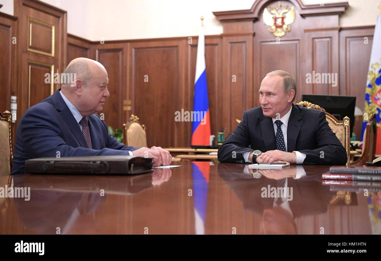 Moscow, Russia. 31st January 2017. Russian President Vladimir Putin during a meeting with Mikhail Fradkov, in the - Stock Image