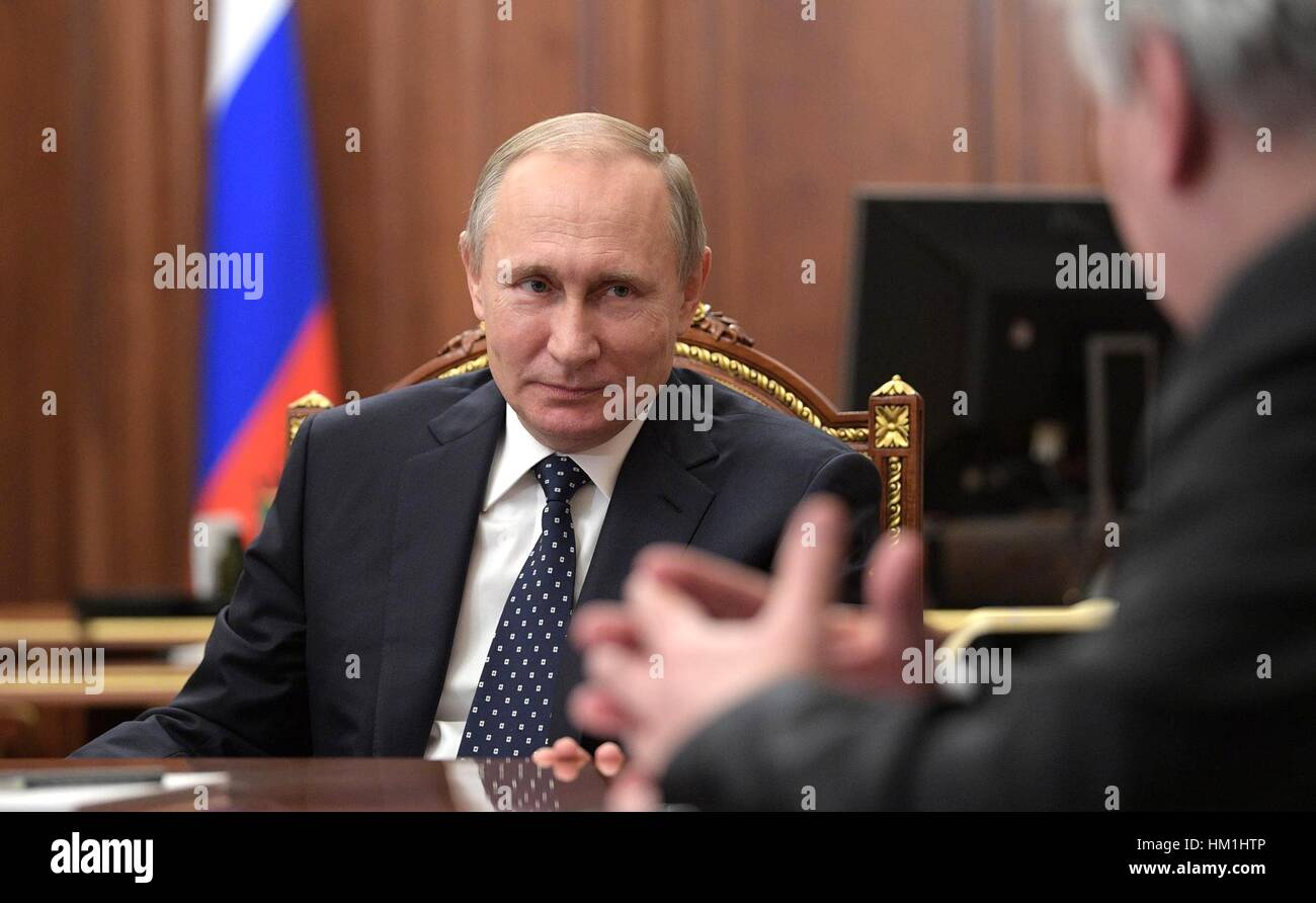 Moscow, Russia. 31st January 2017. Russian President Vladimir Putin during a meeting with Mikhail Fradkov, and Leonid - Stock Image