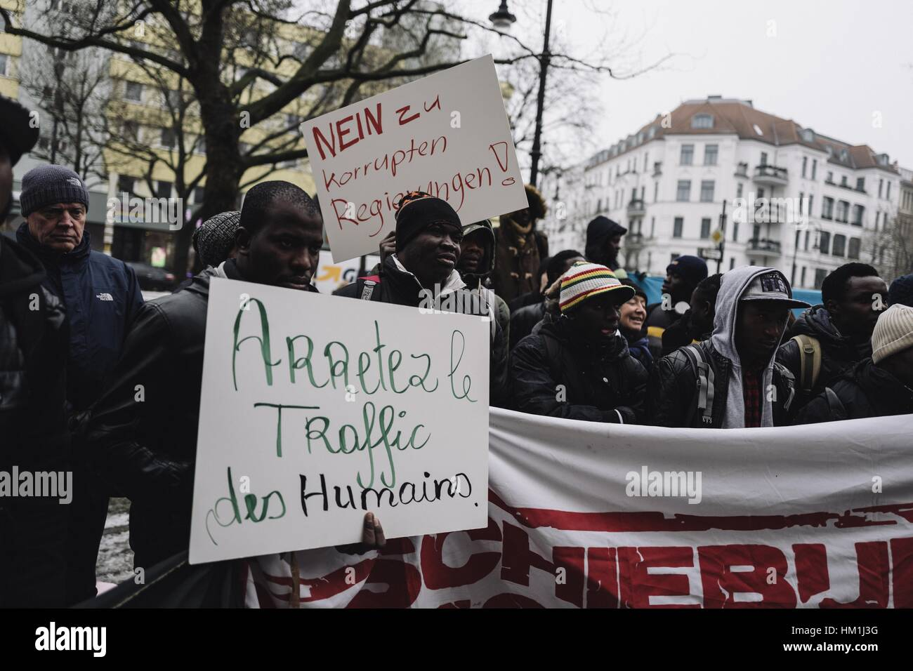 Berlin, Germany. 31st Jan, 2017. Around 100 demonstrators rally in front of the Malian Embassy in Berlin against - Stock Image