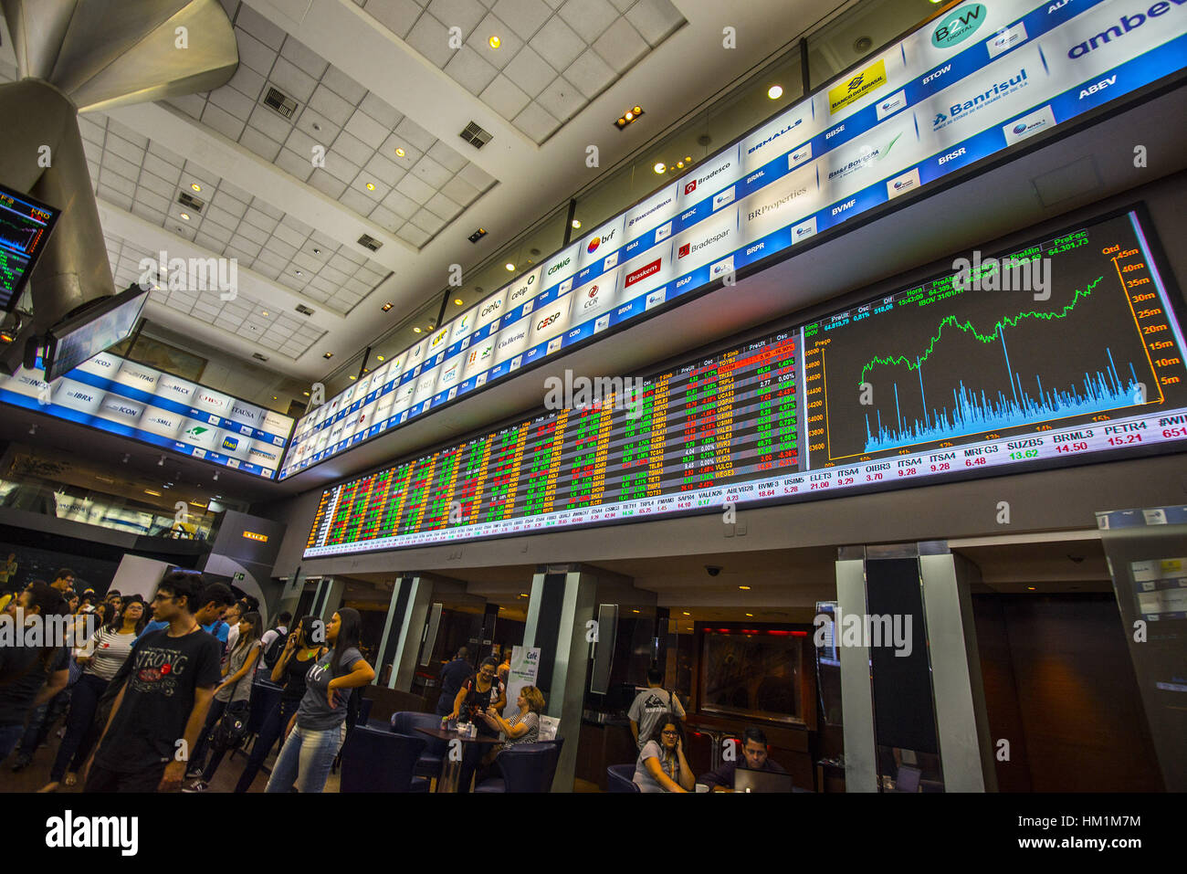 Sao Paulo, Brazil. 31st Jan, 2017.  The main index of the Sao Paulo Stock Exchange rose on Tuesday (31), ending - Stock Image