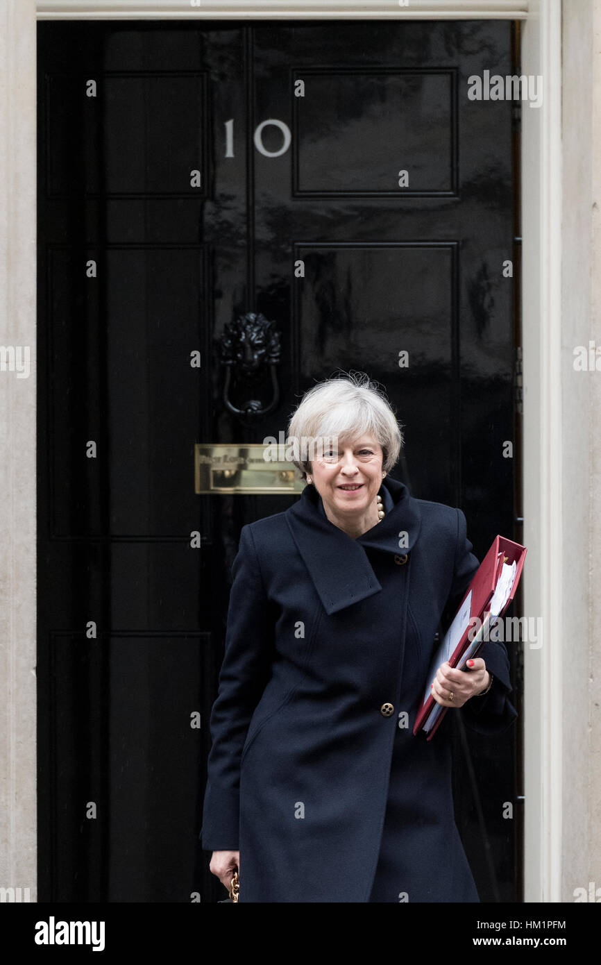 London, UK. 1st February, 2017. Theresa May, the British Prime Minister, leaving 10 Downing Street the official - Stock Image