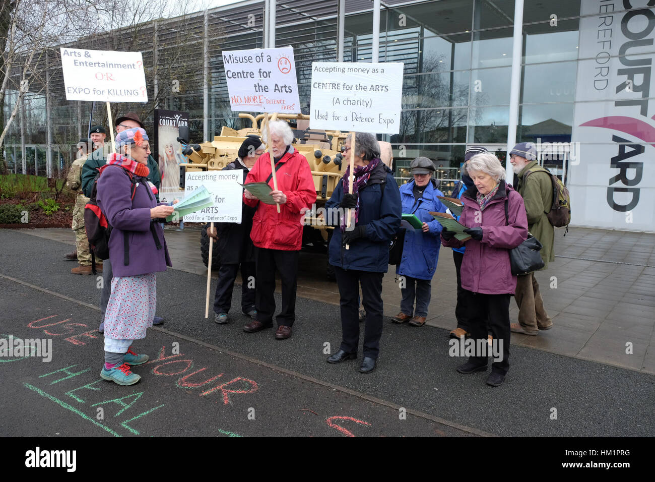 Hereford, UK. 1st February 2017. Protesters demonstrate outside the Herefordshire Defence and Security Expo ( HDSE Stock Photo