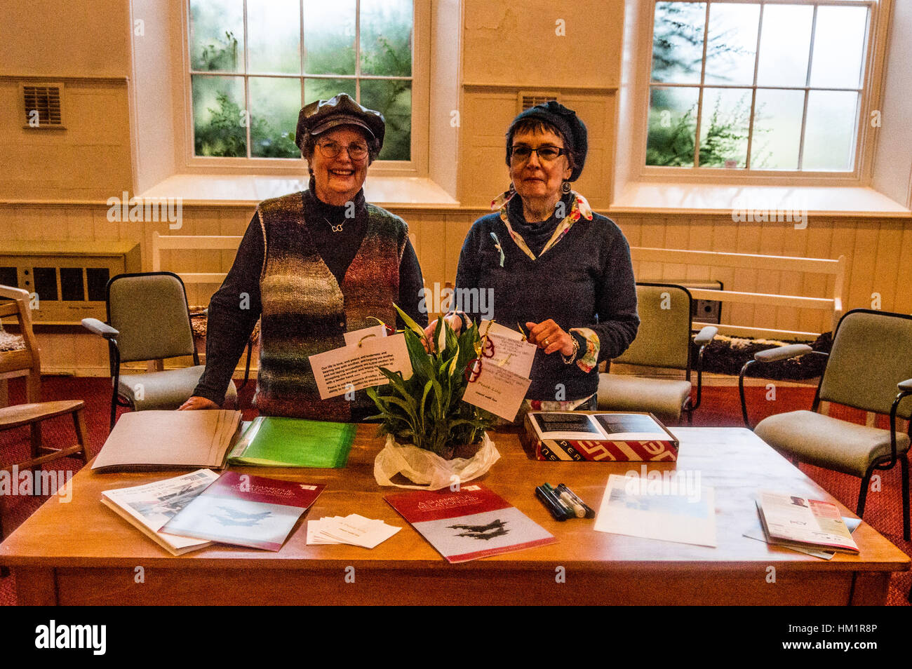 Hereford, Herefordshire, UK. 1st February 2017. Murri Smith (l) and Kim Holroyd (r) pose with Peace Lillys which - Stock Image