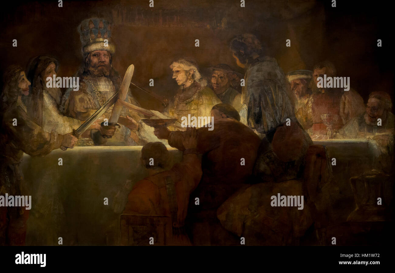 Conspiracy of the Batavians under Claudius Civilis, by Rembrandt, 1661-2, oil on canvas,Rijksmuseum, Amsterdam, - Stock Image