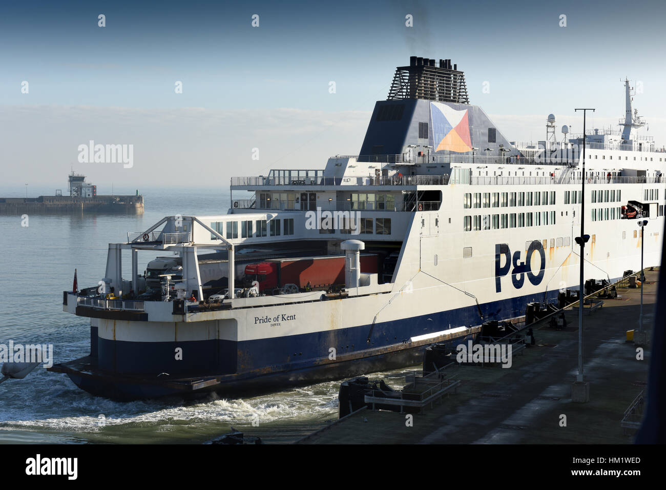 P&O ferry ship boat reversing docking at Dover harbour port - Stock Image
