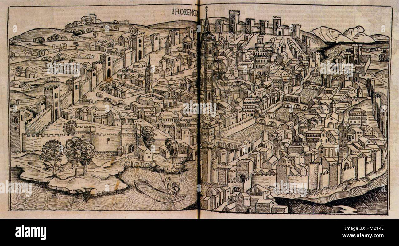 Hartmann Schedel - Nuremberg Chronicle, View of Florence - WGA20967 - Stock Image