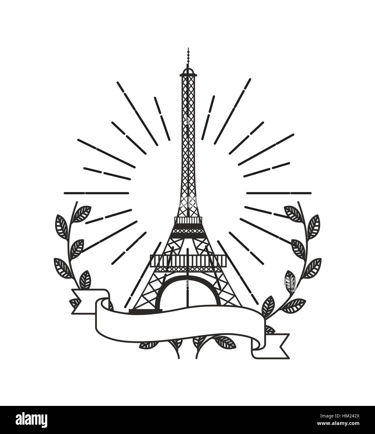 eiffel tower icon with decorative wreath of leaves and ribbon over white background. vector illustration - Stock Vector