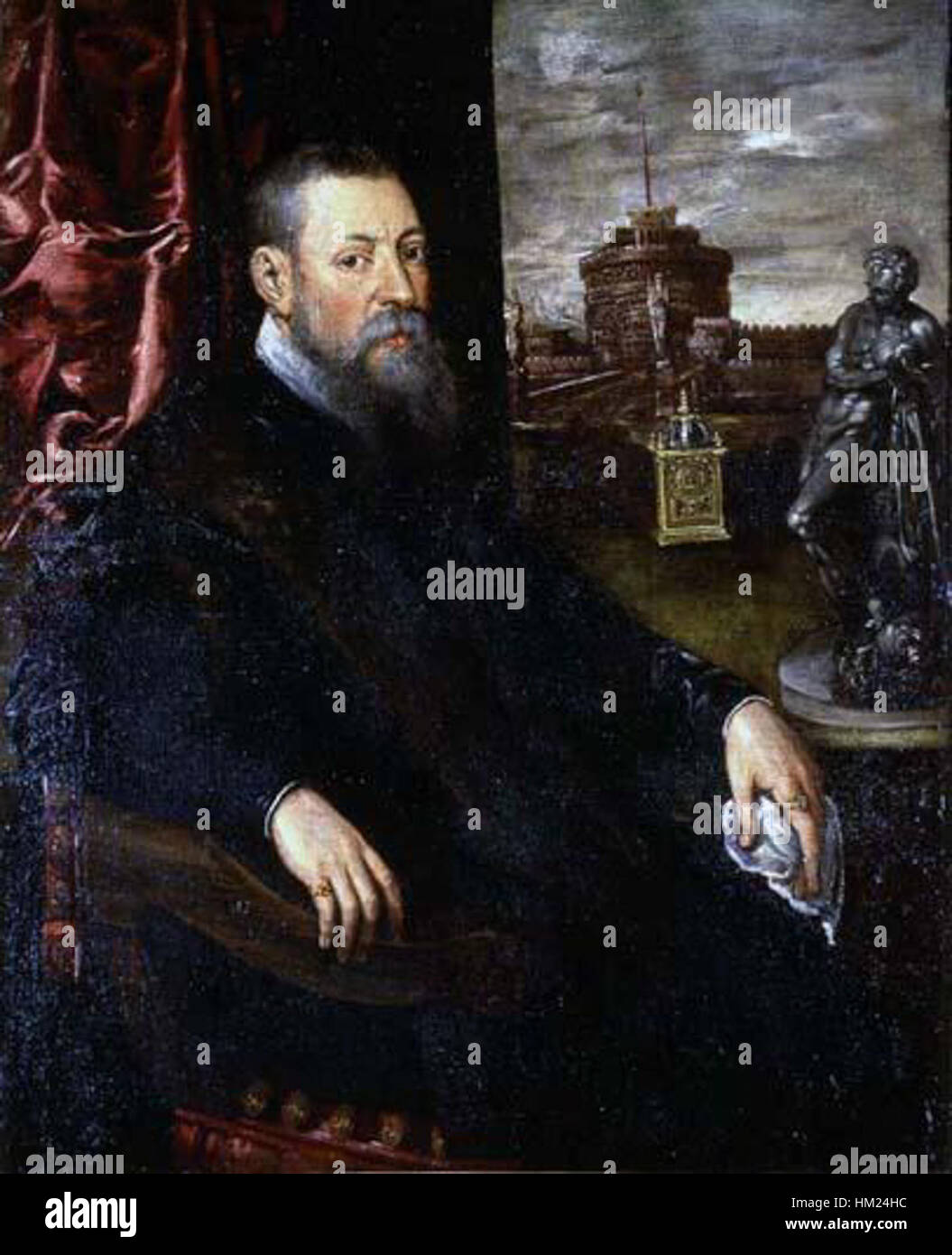 Jacopo Tintoretto - Portrait of a Collector - Stock Image
