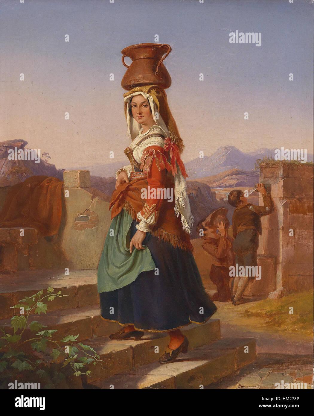 Italienerin mit Wasserkrug (19 Jh) Stock Photo