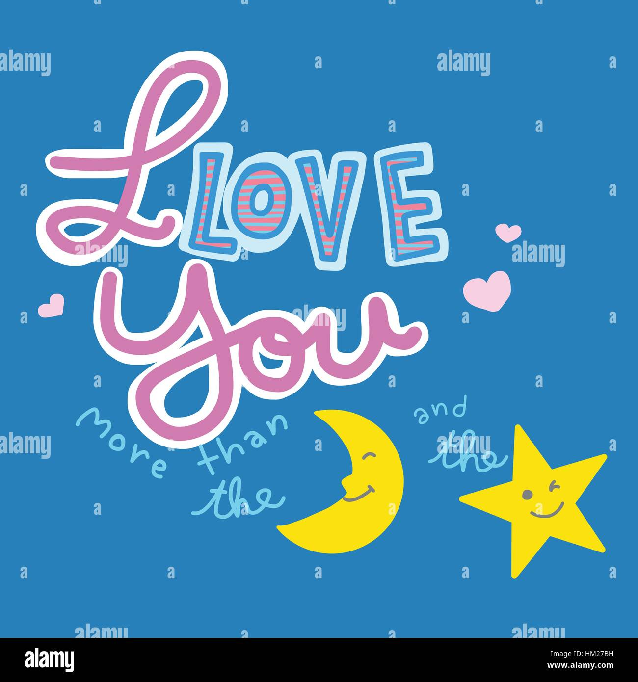 I love you more than the moon and the star word and cartoon vector illustration on pink background - Stock Vector