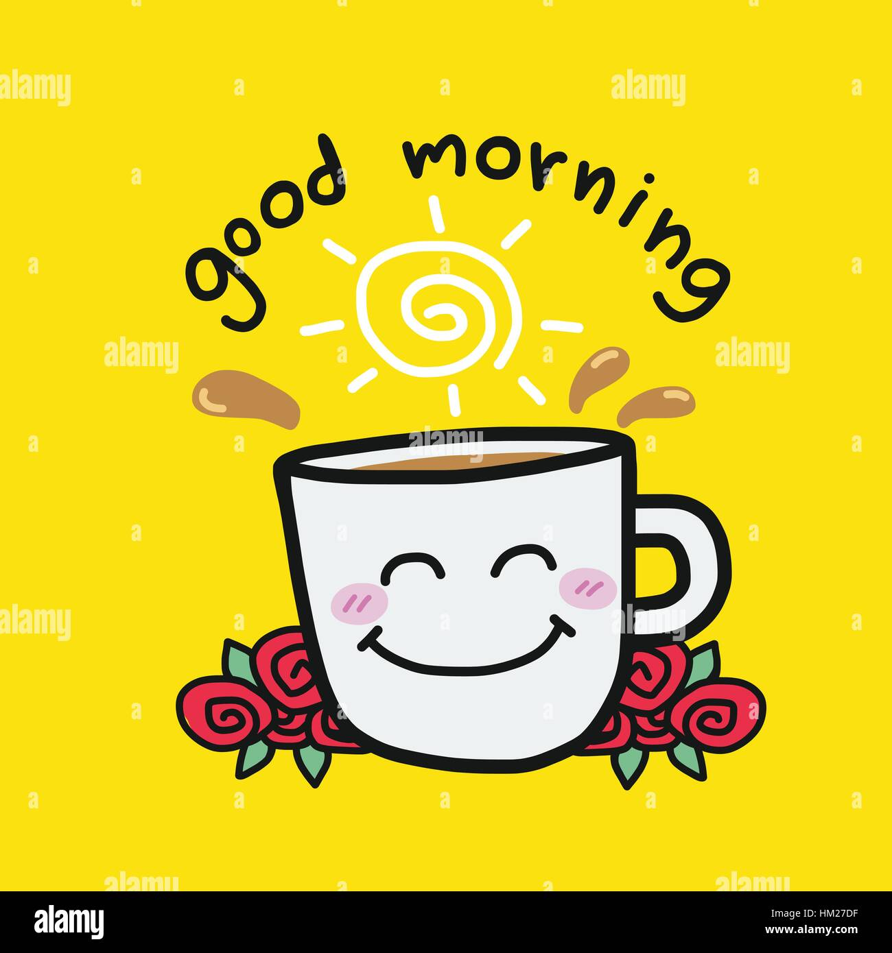Good morning coffee cup and roses cartoon vector illustration on yellow background - Stock Vector