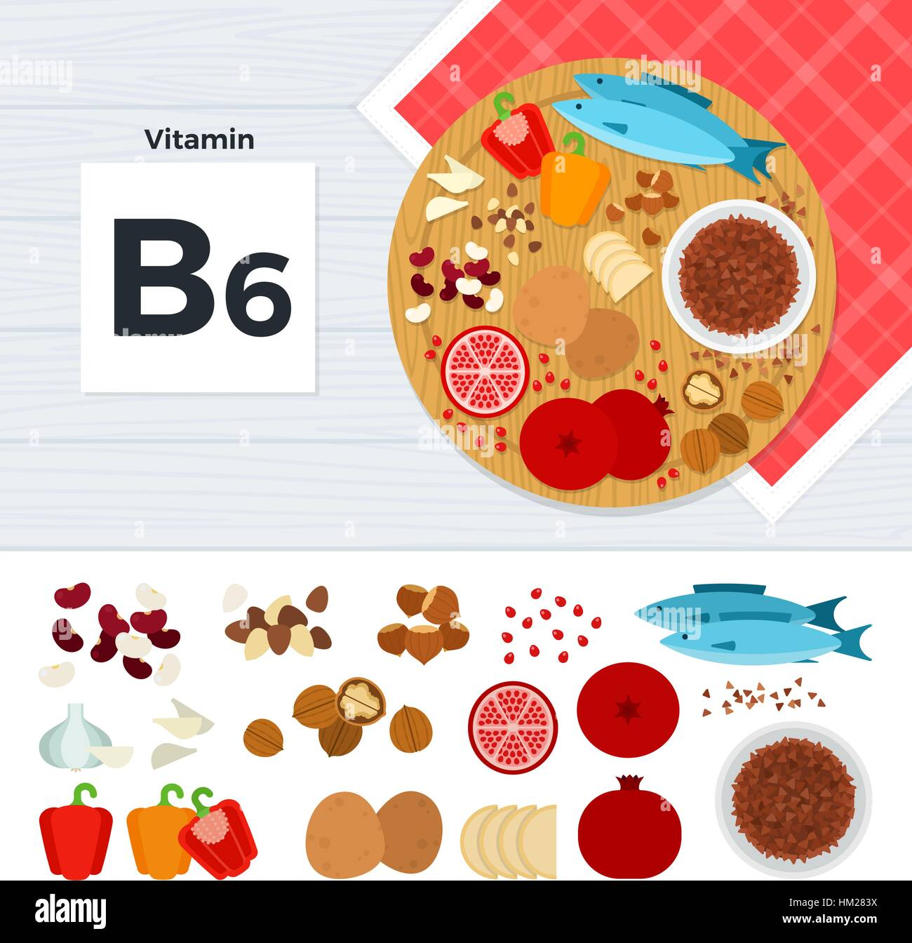 Products with vitamin B6 - Stock Image