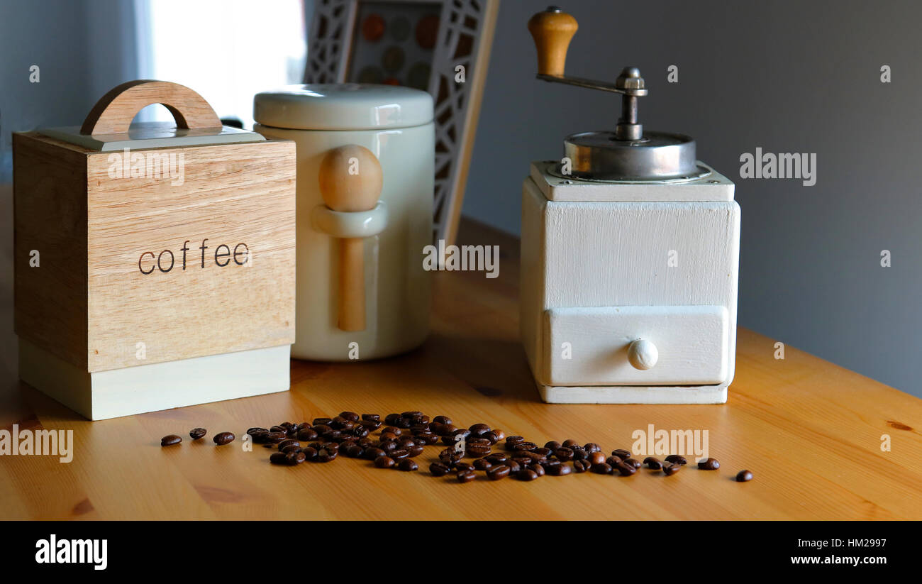 Coffee mill beans set wooden container white sugar home mood kitchen cappuccino