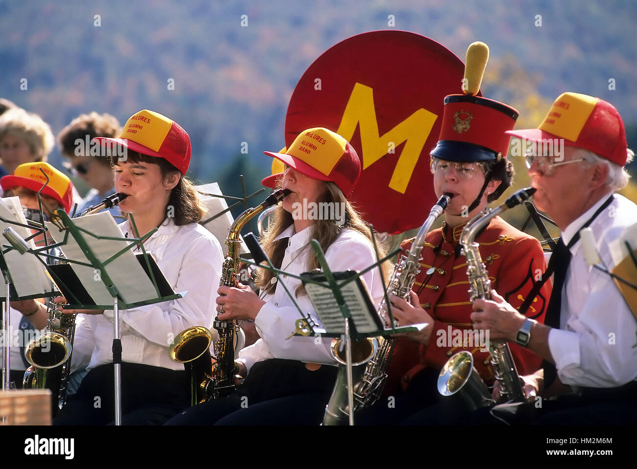 Saxophone section of McLures Alumni Band performs at the public bandstand in Groton, VT, USA. Digital scan - some - Stock Image
