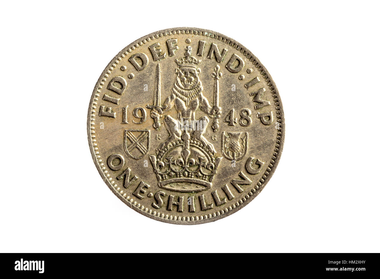 A one Shilling imperial British Coin - Stock Image
