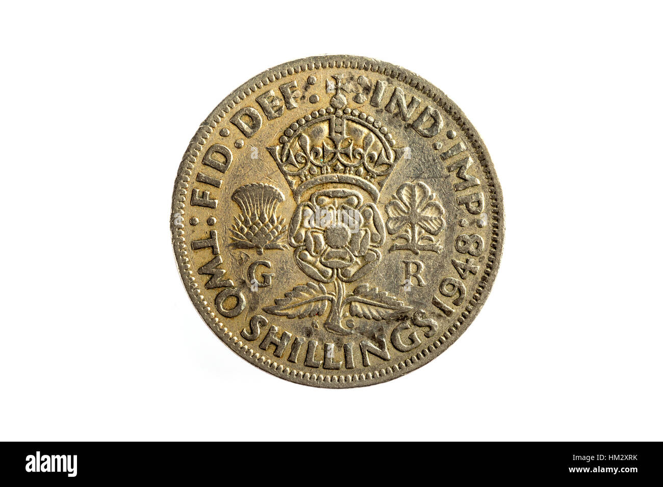 A two Shilling imperial British Coin - Stock Image