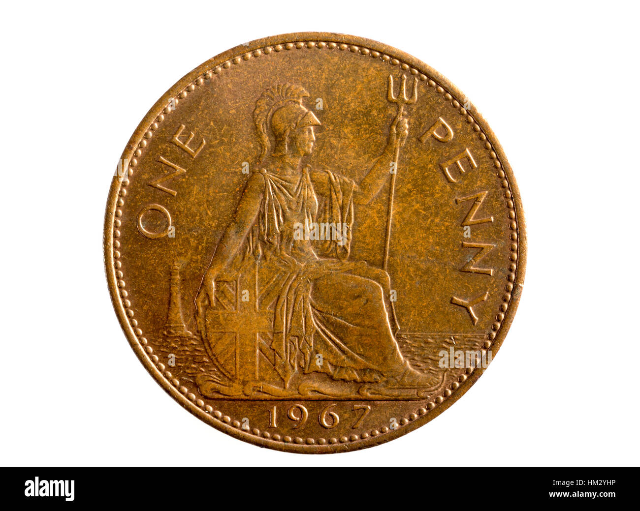 A One Penny old British imperial coin - Stock Image