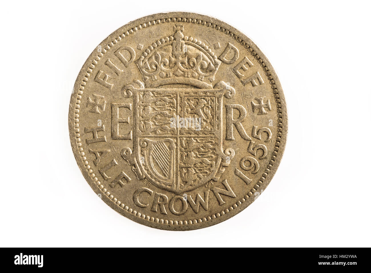 Half Crown old British imperial coin - Stock Image