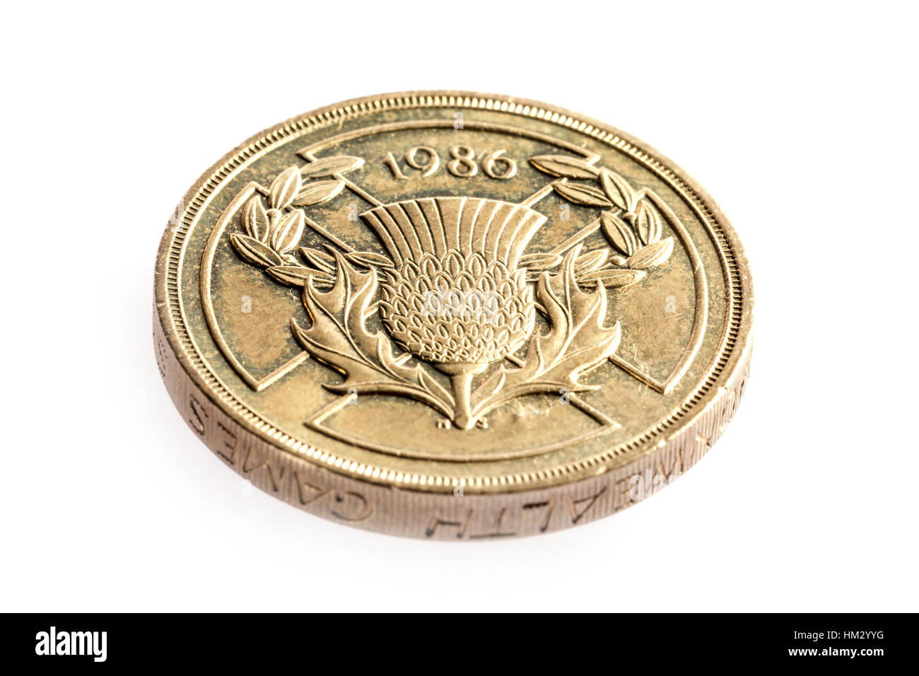 1986 two pound coin introduced to mark the commonwealth games - Stock Image