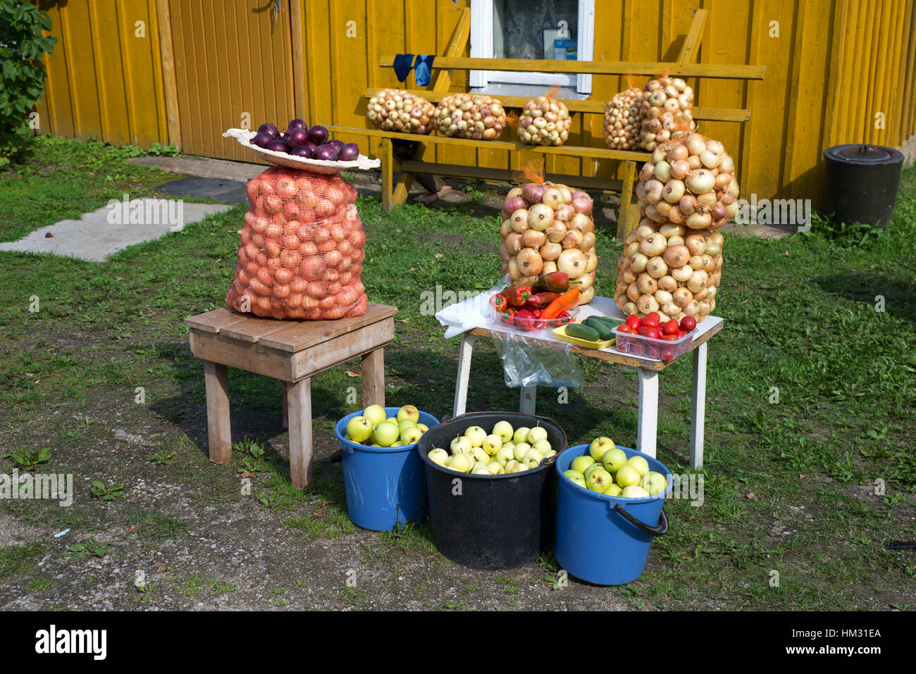 Sacks and buckets of onions and apples on sale in front of a traditional house, Kolkja, Tartu county, Estonia - Stock Image