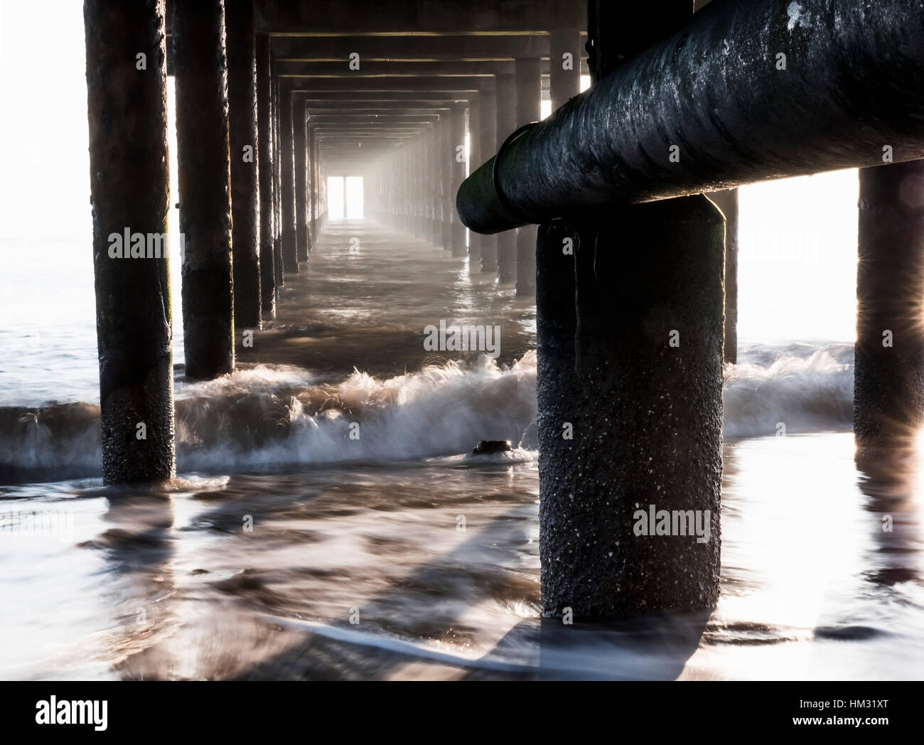 Abstract Lighting Underneath Southwold Pier, Southwold, Suffolk, England, United Kingdom Stock Photo