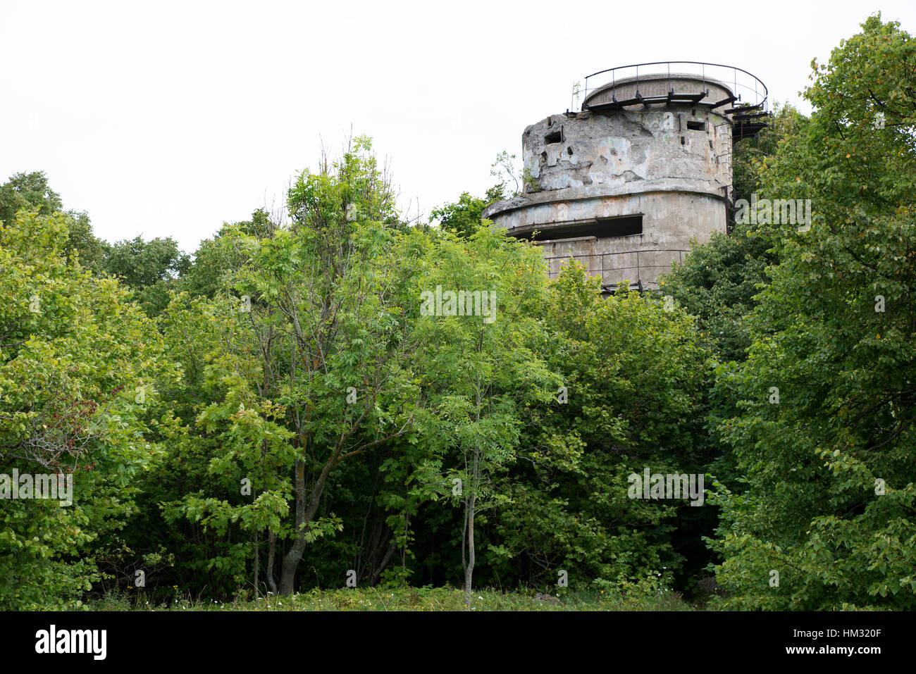 Abandoned defensive tower, Paldiski former naval base area, Pakri Peninsula, Harju County, Estonia - Stock Image