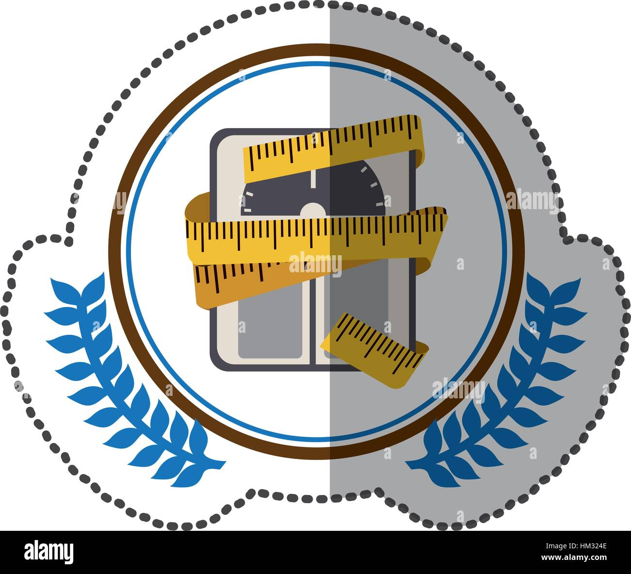 middle shadow sticker colorful with olive crown with scales for weight control with tape measure around in circle - Stock Image