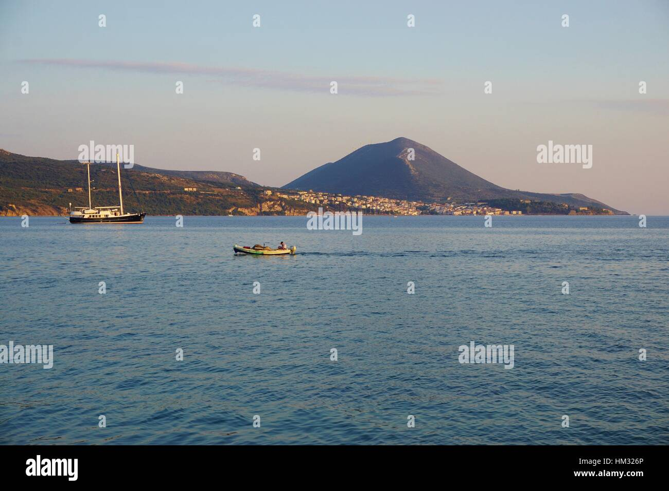 View of Navarino Bay overlooking Pylos in Messenia, Greece - Stock Image