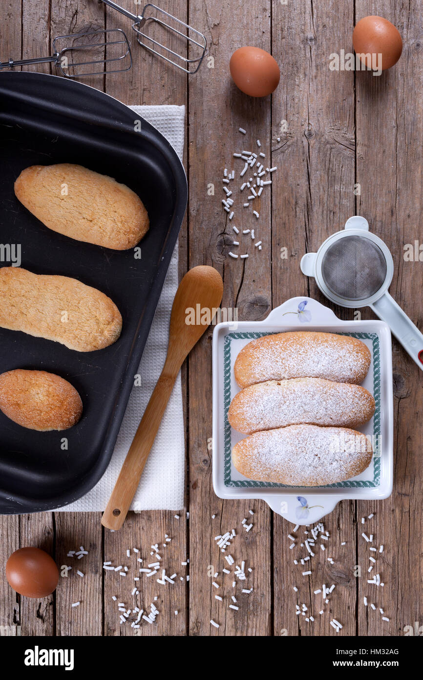 Fresh Baked Savoiardi Biscuits - Stock Image
