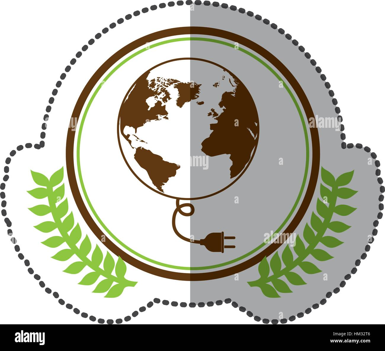 Middle shadow sticker colorful with olive crown with world map and middle shadow sticker colorful with olive crown with world map and connector in circle vector illustration gumiabroncs Images