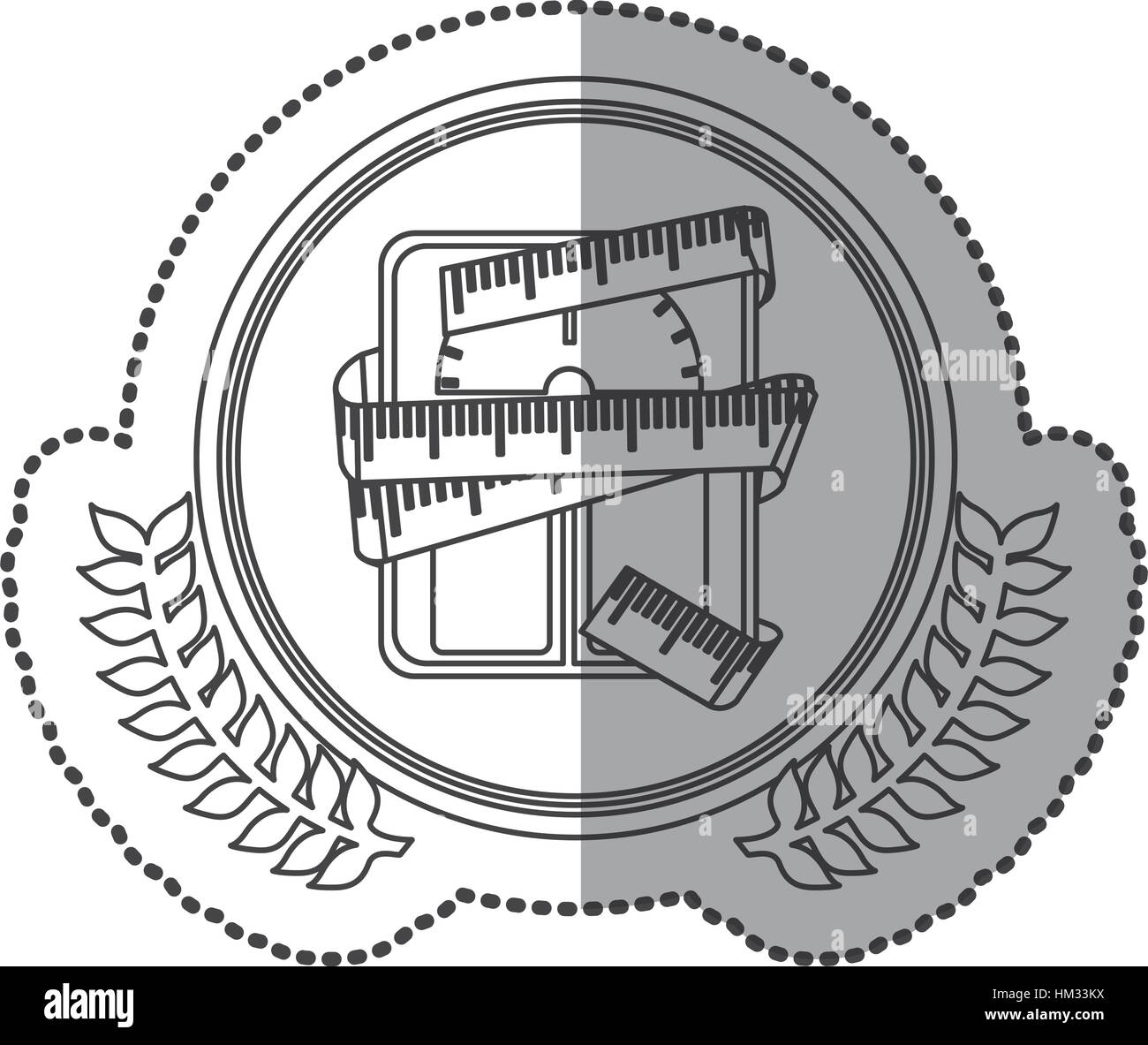 middle shadow sticker monochrome with olive crown with scales for weight control with tape measure around in circle - Stock Image